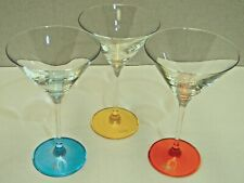 3 Elegant RALPH LAUREN Martini Glasses with Colored Glass Bases & Etched Icons