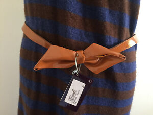 One step Patent Leather Belt Bow Brand new Brown French Size T85 M