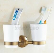 Antique Brass Wall Mounted Bathroom Double Cups Tumbler Toothbrush Holder Kba145