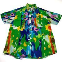 Vintage HG Heart NY Bright 80's Silk Shirt Medium