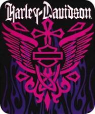 Harley Davidson Rising Cross Queen Plush Throw Bed Blanket 76 X 94 Pink Purple