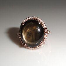 17.22 Carat Black Star Sapphire Cocktail Ring W/Diamond in 14k Rose Gold (14365)