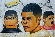CONTEMPORARY PAINTED MEN'S BARBER'S SHOP SIGNBOARD GHANA/ T.D. JAKES/ 3x2 Ft.