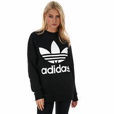 Женские Adidas Originals трилистника негабаритных толстовка в черном