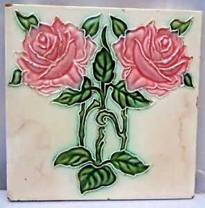 TILE JAPAN ART DK ART NOUVEAU MAJOLICA VINTAGE TWO ROSE DESIGN COLLECTIBLES # 64