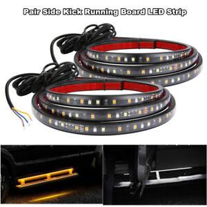 "2Pcs 70"" Running Board Side Step LED Light Amber White Turn Signal DRL Strip Bar"