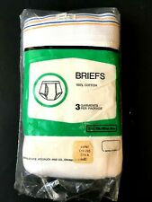 NOS VINTAGE SEARS Roebuck Men's Store White Fly Cotton Briefs 38-40 LARGE