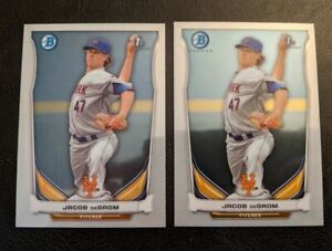 Jacob DeGrom 2014 Bowman Chrome Prospect 2-Card RC Lot! #BCP73 NY Mets Rookie