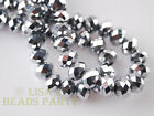 500pcs 3x4mm Faceted Rondelle Crystal Glass Loose Spacer Beads Silver Findings