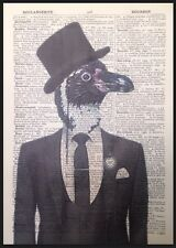 Pinguino Vintage Dizionario Pagina Da Parete, Arte Foto Stampa Umanizzati