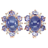 Unheated Oval Tanzanite 10x8mm Cz Rose Gold Plate 925 Sterling Silver Earrings