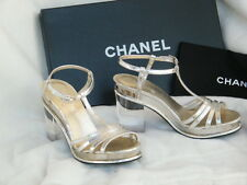 CHANEL SHOES SANDALS heels lucite heel 39.5 9.5 silver argent clair