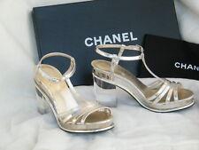 CHANEL SHOES SANDALS heels lucite heel 36 6 silver argent clair