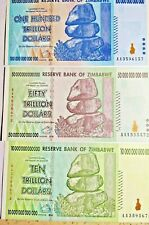 Zimbabwe 100 One Hundred 50 Fifty 10 Ten Trillion Dollars Banknotes 3 Lot