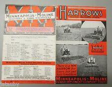 Vintage 1941 MINNEAPOLIS MOLINE MM TRACTOR HORSE DRAWN HARROW DEALER AD BROCHURE
