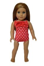 "Doll Clothes AG 18"" Bathing Suit Red White Polka Dot Fits American Girl Dolls"