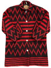 Vintage WOOLRICH Womens Aztec Wool Tribal Black Red Long Sweater Coat Small