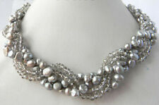 4Strands 18'' 7MM Gray Freshwater Pearl Faceted Crystal Necklaces AA