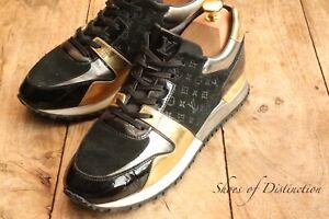 Louis Vuitton Run Away Trainers Sneakers Black Gold Silver Ladies UK 6 EU 39