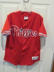 Vintage Philadelphia Phillies MLB Baseball Jersey Men's Medium Majestic Red USA