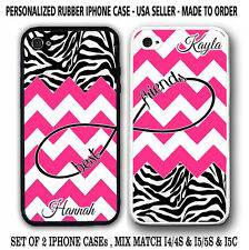 HOT PINK CHEVRON ZEBRA PATTERN BFF Best Friends CASES For iPhone 6S 6 5S 5 5C 4S