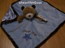 CARTERS SECURITY BLANKET BEAR BLUE STAR LOVE ME BOY BROWN HEAD & HEM SOFT LOVEY