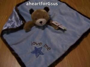 CARTERS SECURITY BLANKET BEAR BLUE STAR LOVE ME BOY BROWN HEAD & HEM SOFT LOVEY