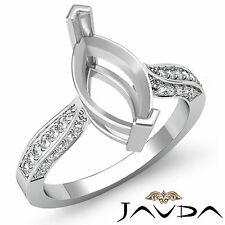 Solitaire Style Diamond Engagement Ring 14k White Gold Marquise Semi Mount 0.4Ct