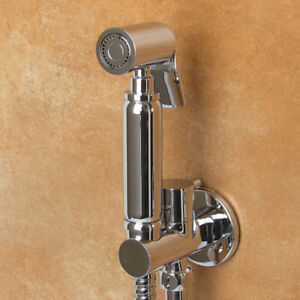 Brass Toilet Hand Held Douche Kit Bidet Sprayer Shattaf & Shut Off Valve Bracket