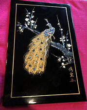 Vintage: Beautiful Japanese Mother of Pearl Peacock on Black Lacquer Board