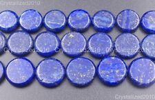 Natural Lapis Lazuli Gemstone Flat Round Coin Beads 16mm 18mm 20mm 16'' Strand
