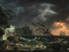 CLAUDE JOSEPH VERNET FRENCH SHIPWRECK OLD ART PAINTING POSTER PRINT BB5117A