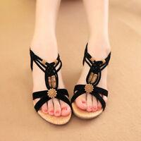 Women Beach Sandals T Strap Ankle Slippers Beaded Flip Flops Bohemia Flat Shoes