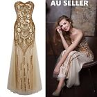 Women's Gold Sequin 1920 Gatsby Flapper Maxi Cocktail Party Prom Evening Dress