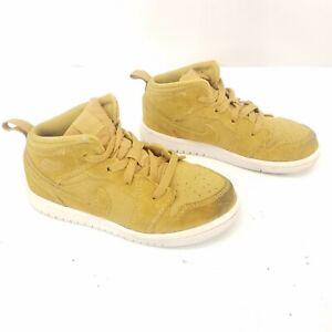 Nike Air Jordan 1 I retro Mid Mustard Yellow 640735 Sneakers Shoes Kids Size 10c