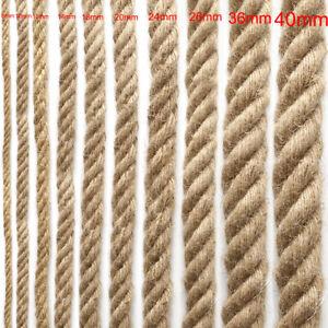 Natural Hemp Rope Twisted Cord Twine Sash Crafts Macrame Decking Boating Garden