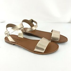 Breckelles Womens Sandals Leatherette Two Tone Open Toe Ankle Strap Gold Size 8
