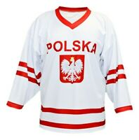 Any Name Number Size Polska Poland Retro Custom Hockey Jersey White