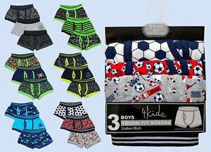New Boys Boxer Shorts 95% Cotton Trunks Underwear Football Gamer Skull Multipack