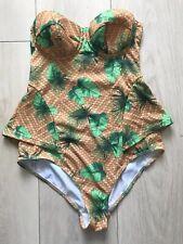 GREEN STRAPLESS SWIMSUIT 34B MUSTARD ASOS HOLIDAY BEACH SUMMER TOWIE CELEB