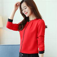 Women Elegant Long Sleeve Hit Color Casual Chiffon Blouse Career OL Shirt Tops