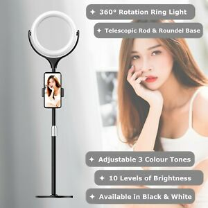 NEWAVE 3 Colour Dimmable Rotatable 8'' LED Ring Light Phone Holder Roundel Stand