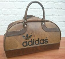 Rare Vintage Retro 1970s Brown Leather ADIDAS Peter Black Sports Bag Holdall