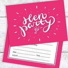 Hen Party Invitations - Pink Ready to Write with Envelopes (Pack 10)