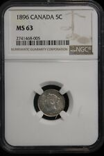 1896 Canada. 5 Cents. NGC Graded MS-63.