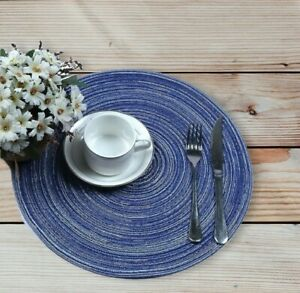Place Mats Woven Placemats Heat-resistant Braided Blue 6pcs