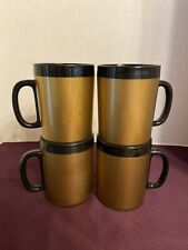 Thermo-Serv Insulated Black and Gold Coffee Cups Mugs Set of 4 Vintage West Bend