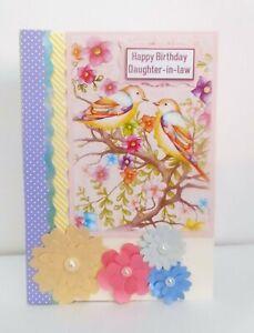 Bright, birds, Handmade 8 x 5 inch card, Happy Birthday DAUGHTER-IN-LAW