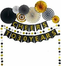 30th Birthday Party Supply Decorations Kit with Pre-Strung Banner Paper Fan
