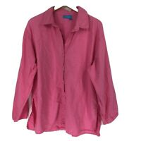Fresh Produce XL/XXL Shirt Button Down Front Blouse Pink Long Sleeve Cotton